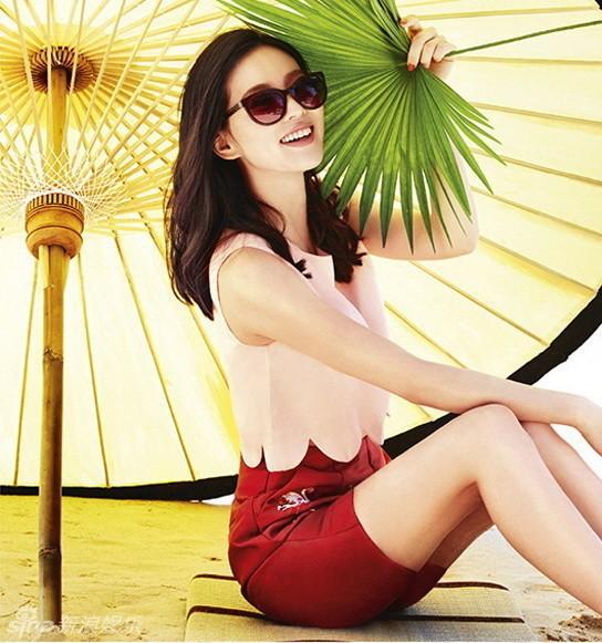 刘诗诗热带风情美图甜美可爱