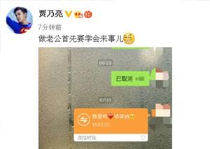 """贾乃亮520""""大出血"""" 向李小璐转账三次表爱心"""