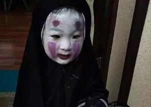 """台湾小女孩万圣节cos""""无脸男"""""""
