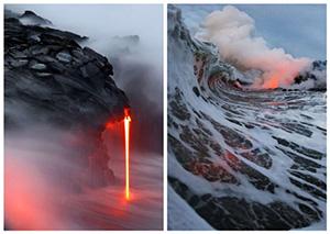 """摄影师拍基拉韦厄火山岩浆流入海 宛若""""地狱之火"""""""